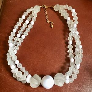 Vintage frosted lucite multi strand necklace